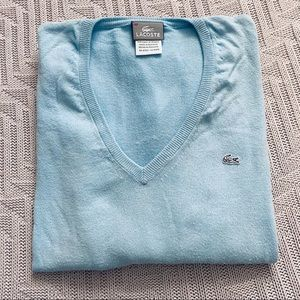Lacoste light blue v neck sweater